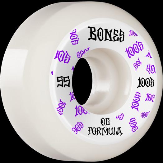 BONES WHEELS OG Formula Skateboard Wheels 100 #3 55mm V5 Sidecut 4pk White