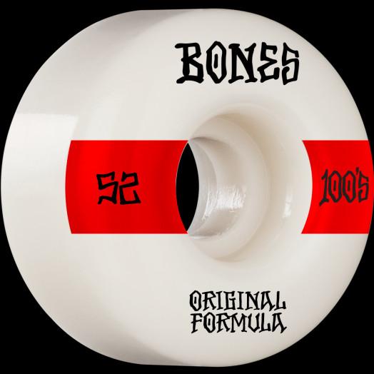 BONES WHEELS OG Formula Skateboard Wheels 100 #14 52mm V4 Wide 4pk White