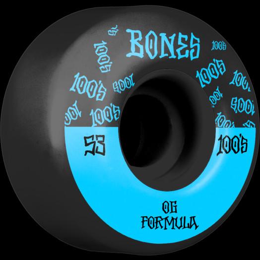 BONES WHEELS OG Formula Skateboard Wheels 100 #13 53mm V4 Wide 4pk Black