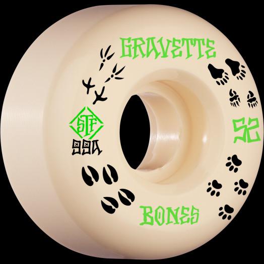 BONES WHEELS PRO STF Skateboard Wheels Gravette Trapper 52mm V2 Locks 99a 4pk