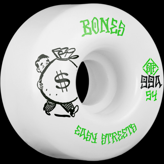BONES WHEELS STF Easy Money Skateboard Wheels Easy Streets V1 Standard 54mm 4pk White
