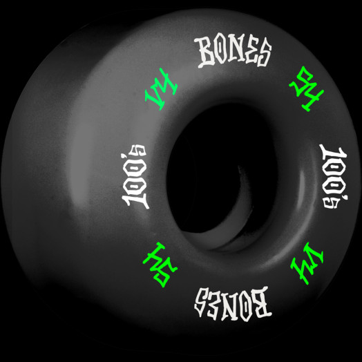 BONES WHEELS 100's #12 OG Formula 54x34 V4 Skateboard Wheel 100A 4pk Black