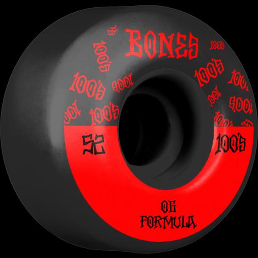 BONES WHEELS OG Formula Skateboard Wheels 100 #13 52mm V4 Wide 4pk Black