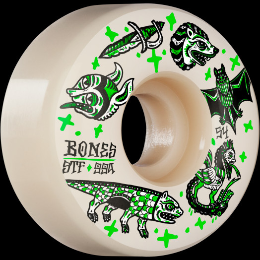 BONES WHEELS STF Skateboard Wheels Dark Knights 54mm V1 Standard 99a 4pk