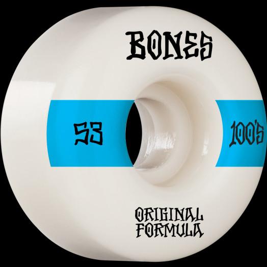 BONES WHEELS OG Formula Skateboard Wheels 100 #14 53mm V4 Wide 4pk White