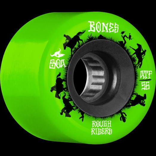 BONES WHEELS ATF Rough Rider Skateboard Wheels Wranglers 56mm 80a 4pk Green
