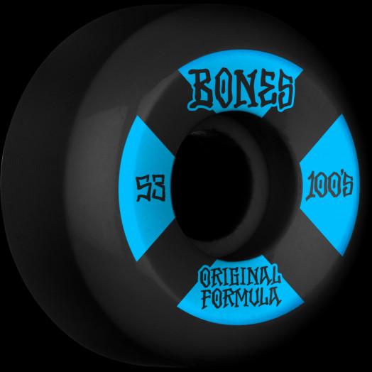 BONES WHEELS OG Formula Skateboard Wheels 100 #4 53mm V5 Sidecut 4pk Black