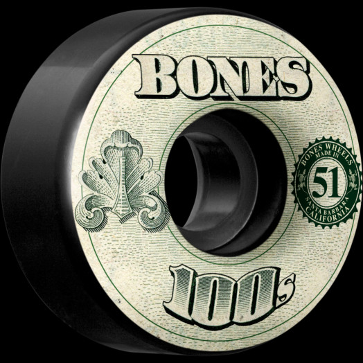 BONES WHEELS 100's OG Formula 51x32 V4 Skateboard Wheels 100a 4pk Black