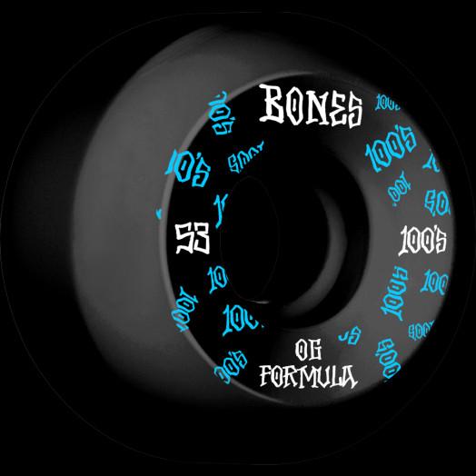 BONES WHEELS OG Formula Skateboard Wheels 100 #3 53mm V5 Sidecut 4pk Black