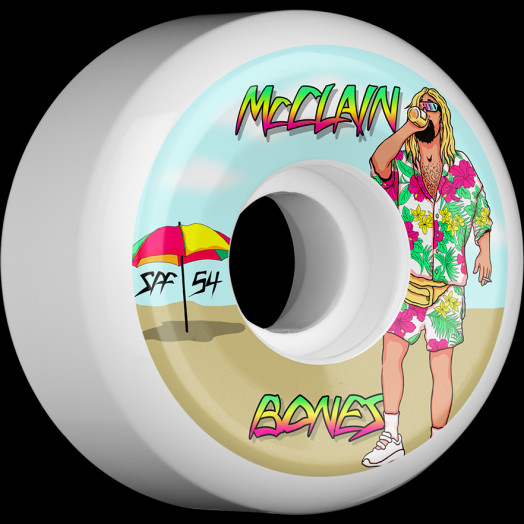 BONES WHEELS SPF Pro McClain Beach Bum Skateboard Wheels P5 Sidecut 54mm 84B 4pk White
