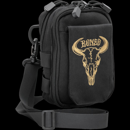 "BONES WHEELS Shoulder Bag Desert Horns 7"" x 5"" Black"