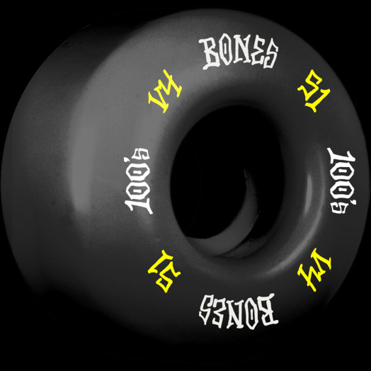 BONES WHEELS 100's #12 OG Formula 51x32 V4 Skateboard Wheels 100A 4pk Black