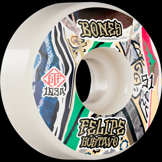 BONES WHEELS PRO STF Skateboard Wheels Gustavo Bed-Stuy 51mm V1 Standard 103A 4Pk