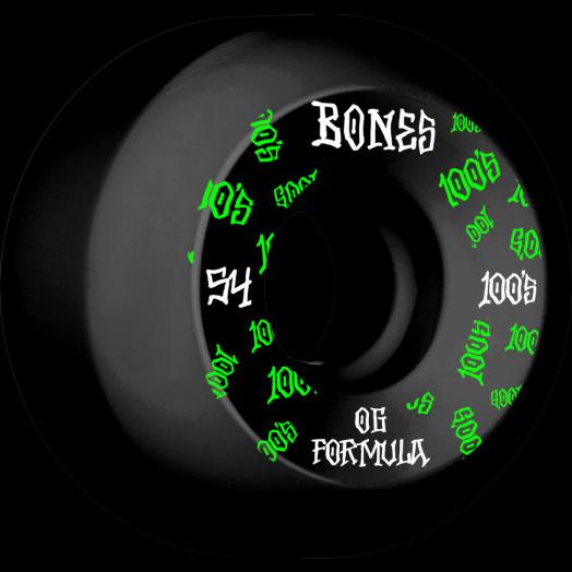 BONES WHEELS OG Formula Skateboard Wheels 100 #3 54mm V5 Sidecut 4pk Black