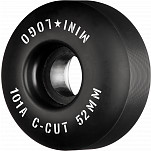 "Mini Logo Skateboard Wheels C-cut ""2"" 52mm 101A Black 4pk"