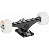 "Mini Logo 7.63"" Black Trucks + ML Bearings + A-cut 53mm x 90a White Wheels"