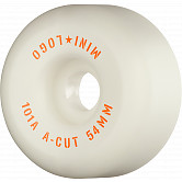 "Mini Logo Skateboard Wheels A-cut ""2"" 54mm 101A White 4pk"