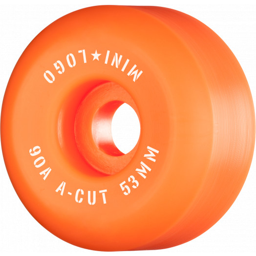 "Mini Logo Skateboard Wheels A-cut ""2"" 53mm 90A Orange 4pk"