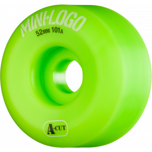 Mini Logo Skateboard Wheels A-cut 52mm 101A Green 4pk