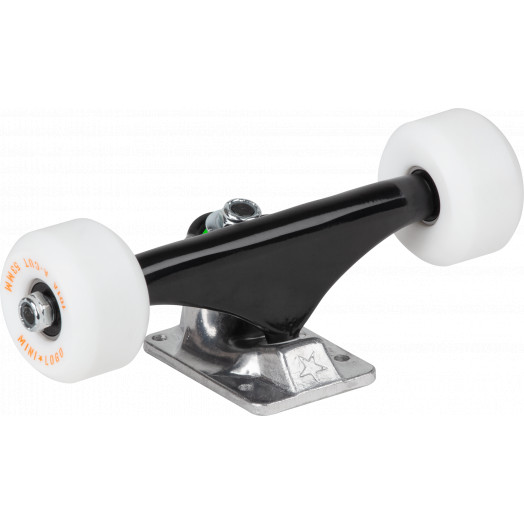 "Mini Logo 7.13"" Split Black/Raw Trucks + ML Bearings + A-cut 53mm 90a White Wheels (Set of 2) 2)"