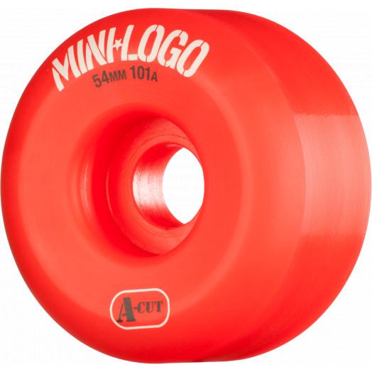 Mini Logo Skateboard Wheels A-cut 54mm 101A Red 4pk
