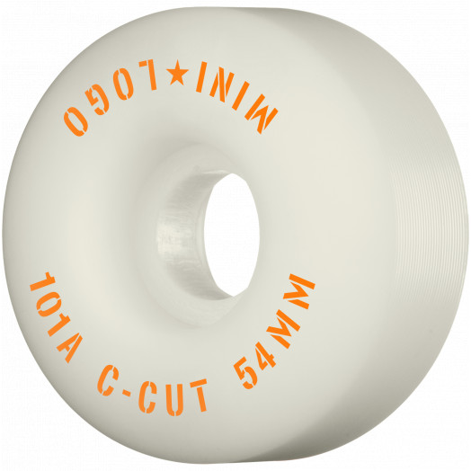 "Mini Logo Skateboard Wheels C-cut ""2"" 54mm 101A White 4pk"