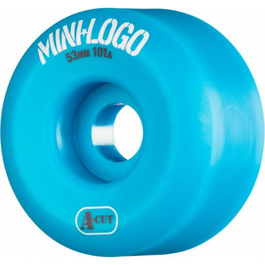 Mini Logo Skateboard Wheels A-cut 53mm 101A Blue 4pk
