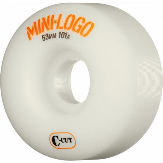 Mini Logo Skateboard Wheel C-cut 53mm 101A White 4pk