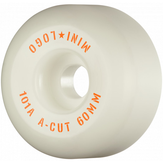 "Mini Logo Skateboard Wheels A-cut ""2"" 60mm 101A White 4pk"