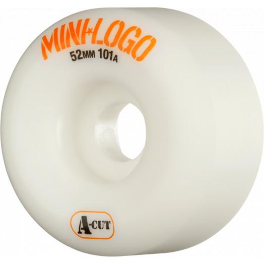 Mini Logo Skateboard Wheels A-cut 52mm 101A White 4pk
