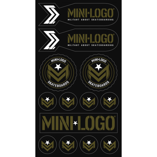 "Mini Logo Sticker MILITANT ""3"" Green/Black Font 10pk"